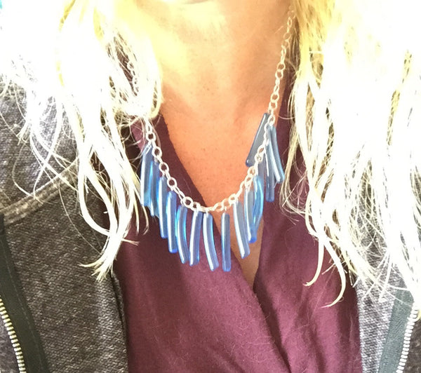 Frosted Smoke Gray Fringe Necklace | vintage lucite drop statement necklace