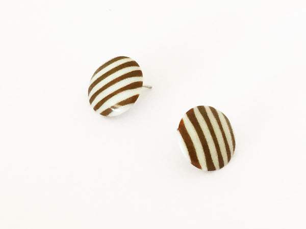 brown white stripe stud earrings