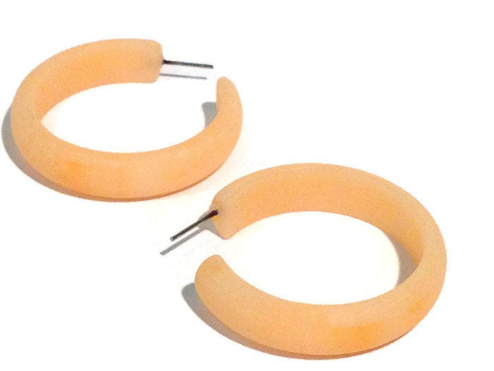 peach lucite big hoops