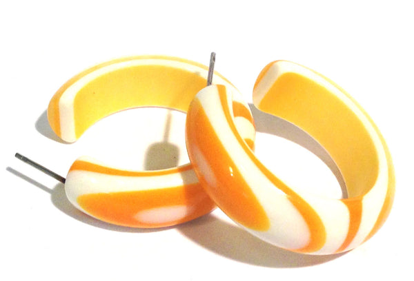 yellow stripe hoop earrings