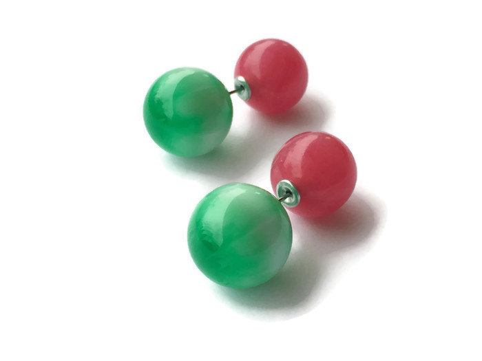 green pink 360 earrings