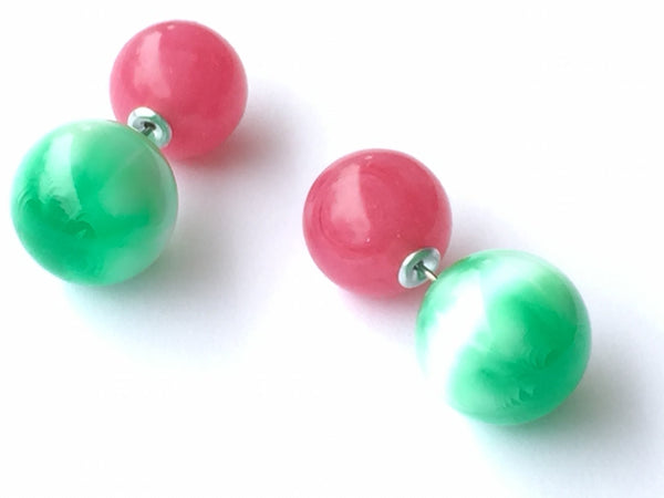 green moonglow double earrings