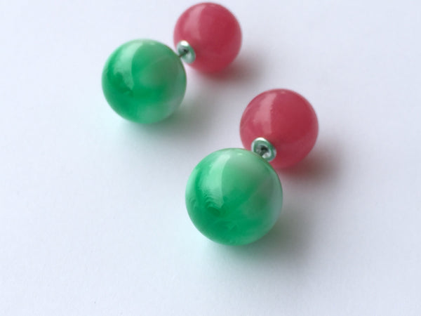emerald green pink earrings