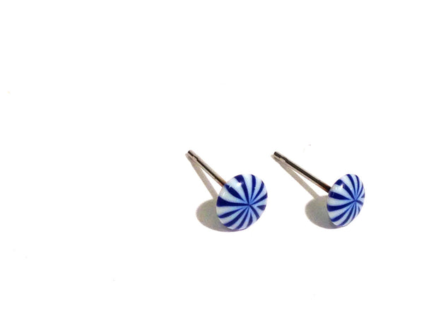 blue white tiny earrings