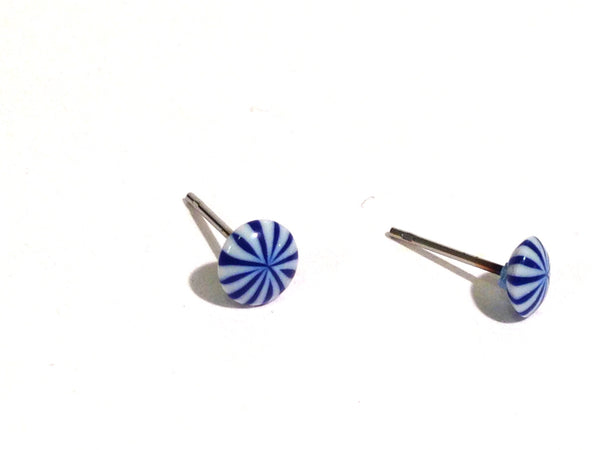 small blue white stripe earrings