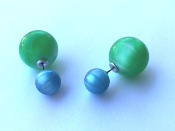 turquoise green moonglow studs