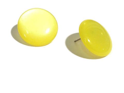 yellow button earrings