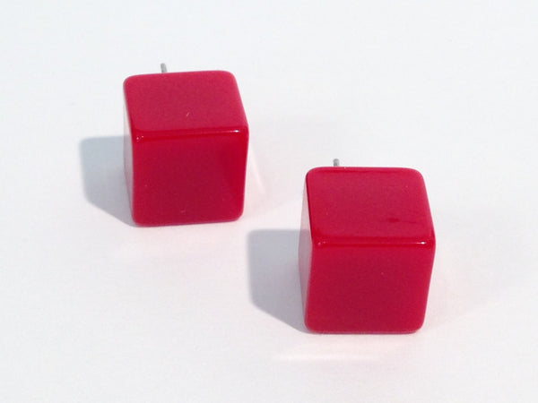 cherry red square studs