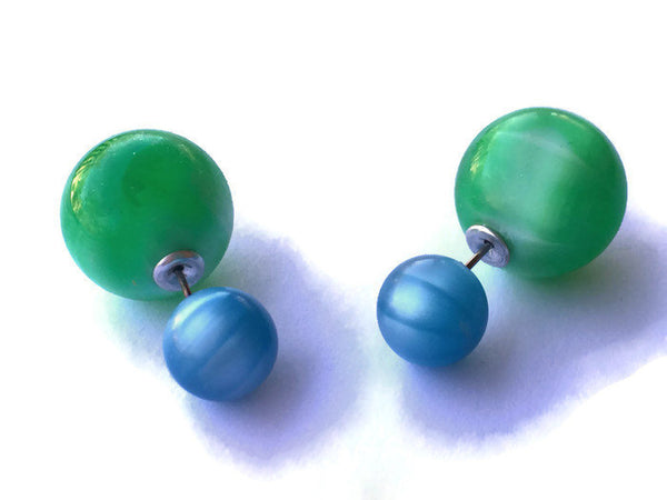 aqua green 2 sided earrings