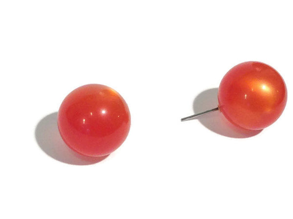 bright orange stud earrings