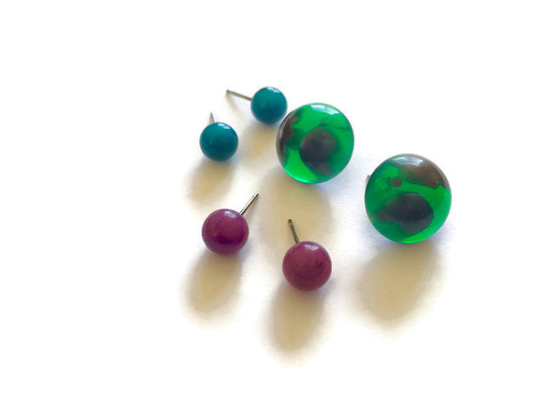 Green Teal and Cranberry Moonglow Stud Earrings Set | Vintage Lucite Studs