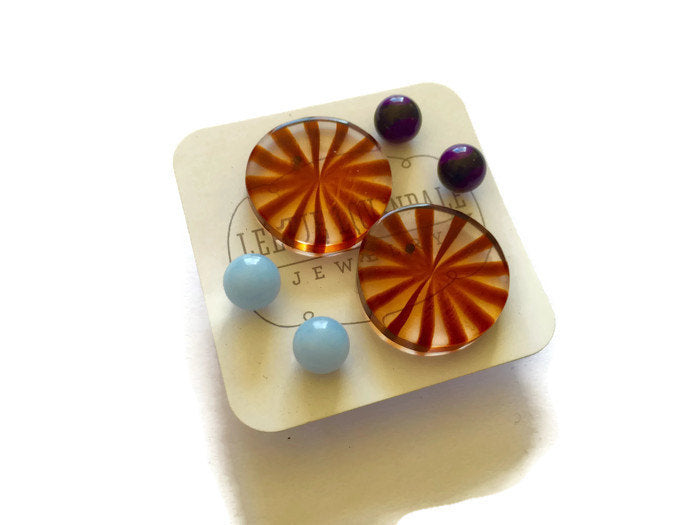 candy lucite earrings set