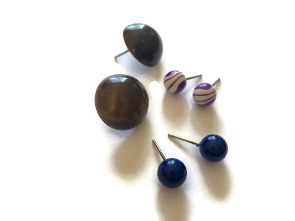 brown lucite studs collection