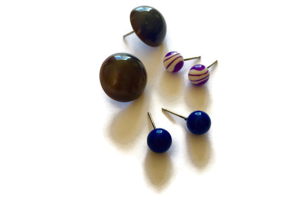 navy blue earring collection