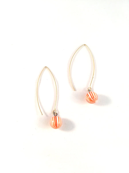 orange white earrings