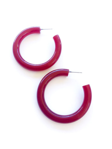 dark red hoop earrings