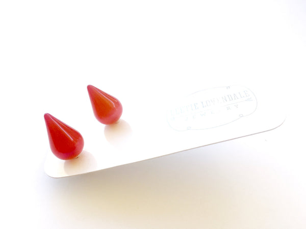 red moonglow stud earrings