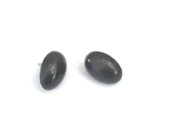 grey oval earrings
