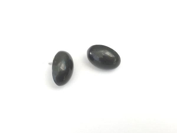 dark grey oval earrings