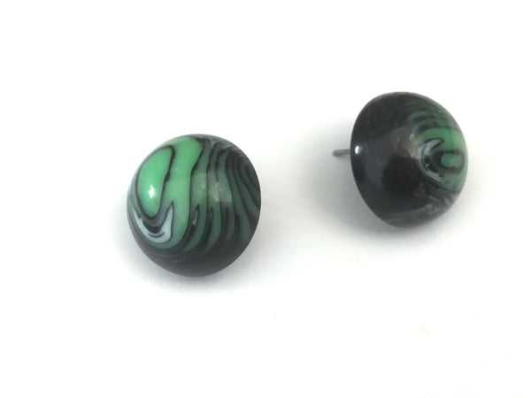 green lucite stud earrings
