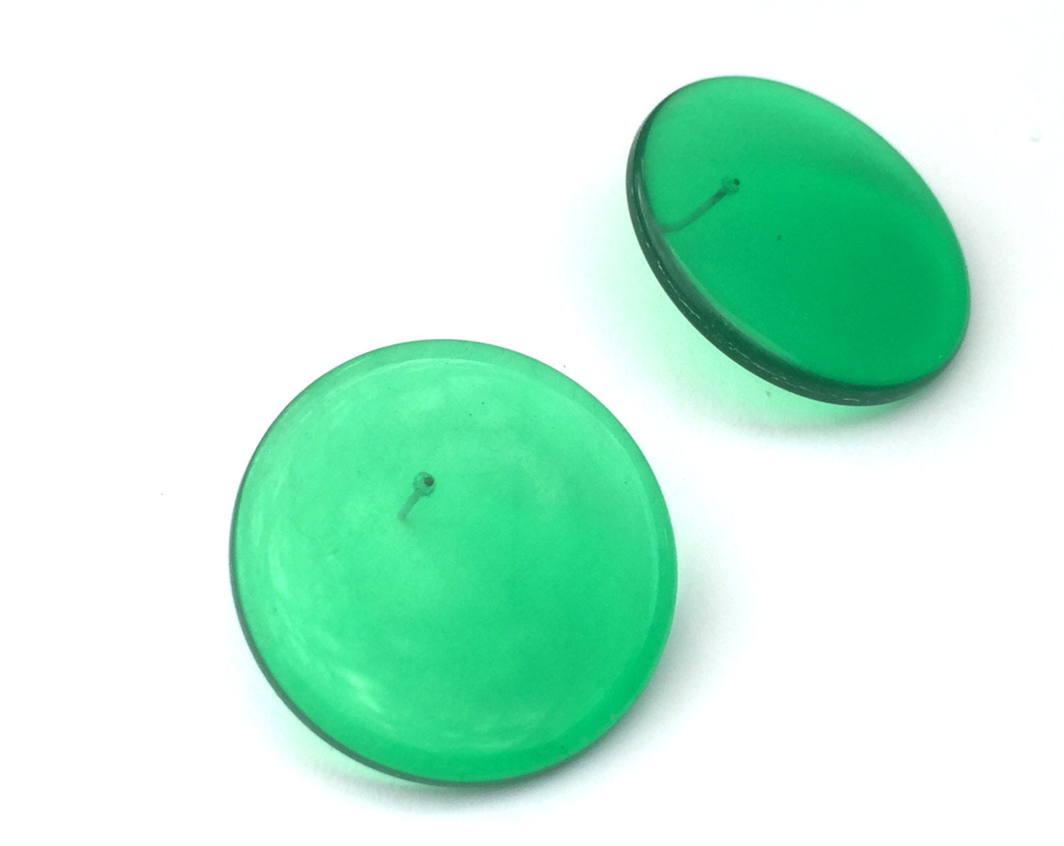 green disc earrings