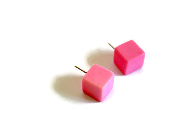 pink lucite square studs