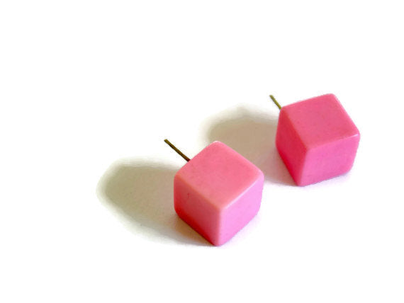 retro cube stud earrings