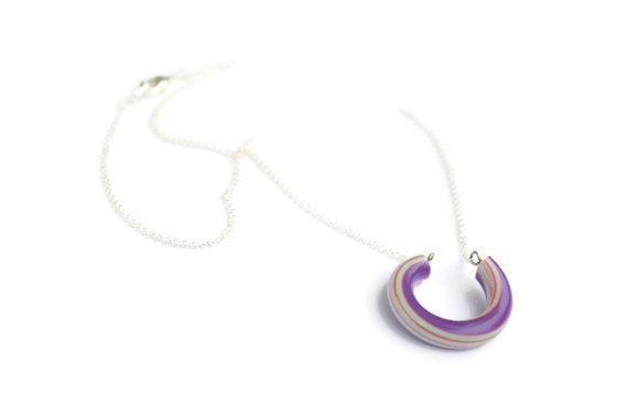 purple stripe lucky necklace