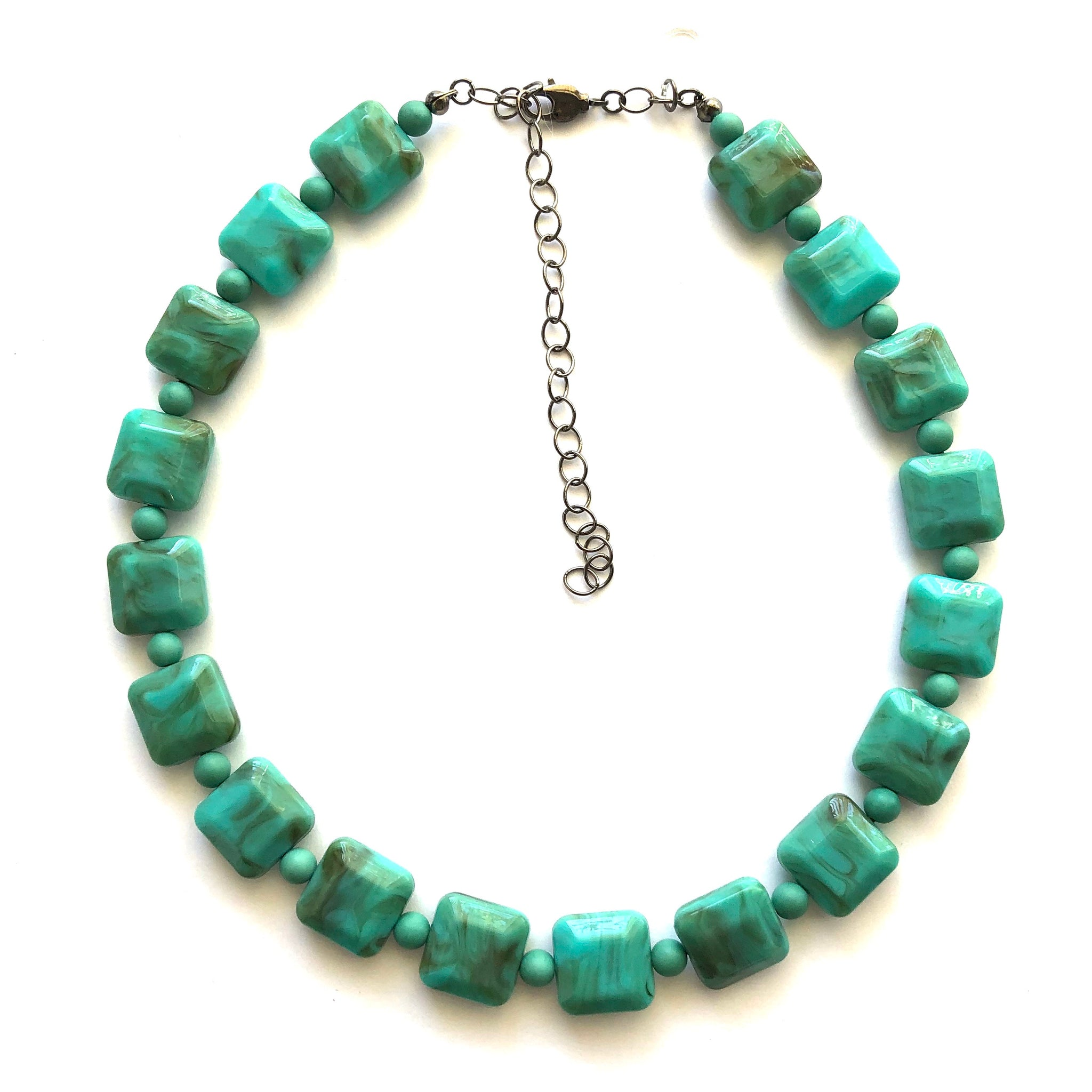 Turquoise Marbled Lucite Square Marco Necklace