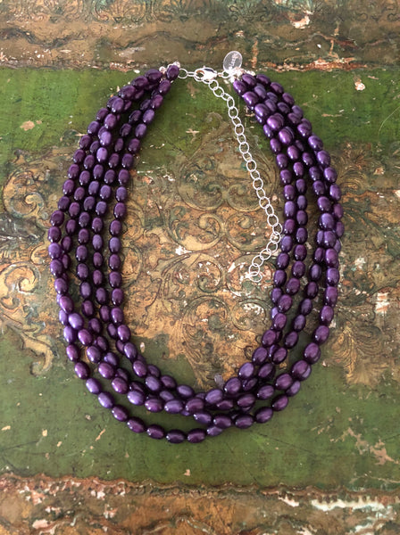 Purple Moonglow Beaded Statement Necklace | Vintage Lucite Sylvie Multi Strand Statement Necklace