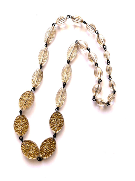Clear Carved with Gold Wash Carmen Necklace