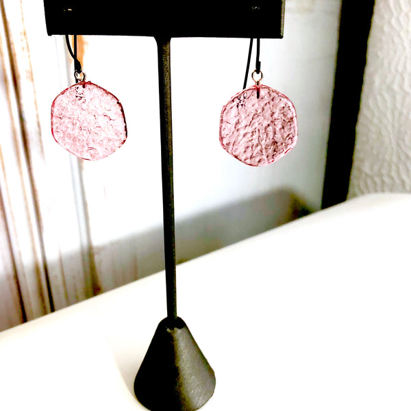Cranberry Pink 'Stained Glass' Drop Earrings