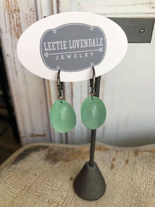 Bling Green Opal Lucite Chunk Drop Earrings
