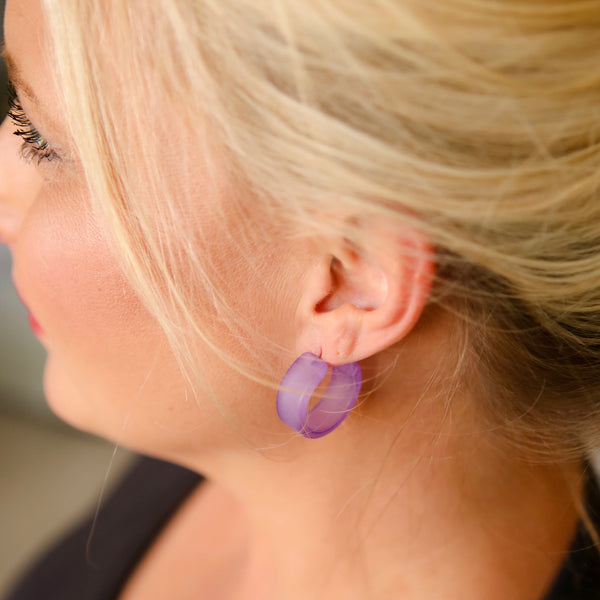 Cobalt Blue Frosted Wide Classic Hoop Earrings