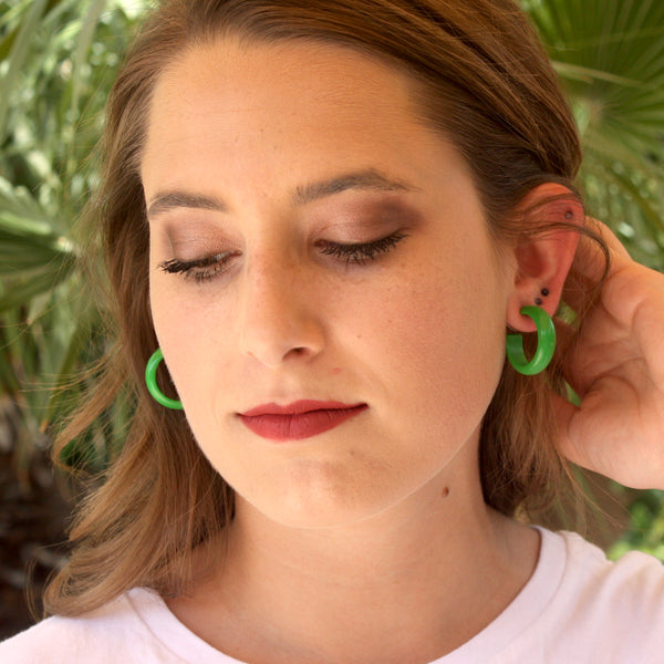 Dark Mauve Lucite Simple Hoop Earrings