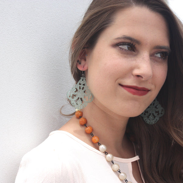 lucite statement lace earrings