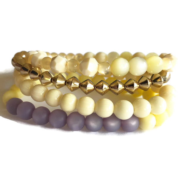 Ivory & Lilac and Golds Stack & Stretch Bracelets Set
