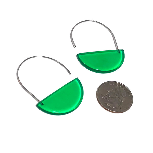 green half moon earrings