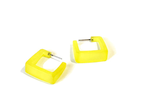 lemon yellow square hoops