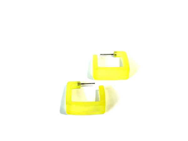 vintage yellow square hoops