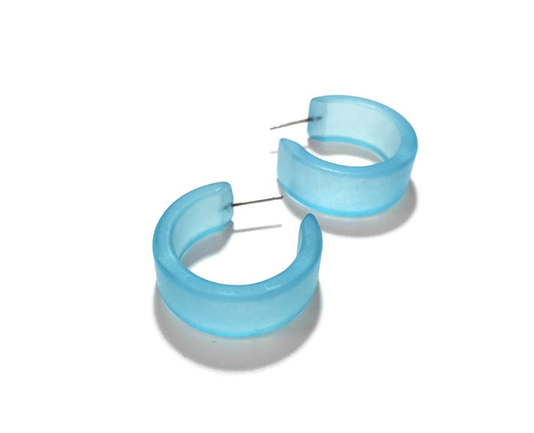 Light Turquoise Frosted Wide Classic Hoop Earrings