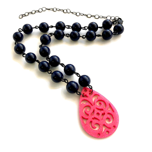 hot pink necklace navy blue