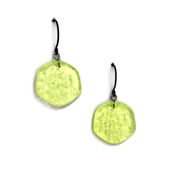 neon yellow lucite earrings