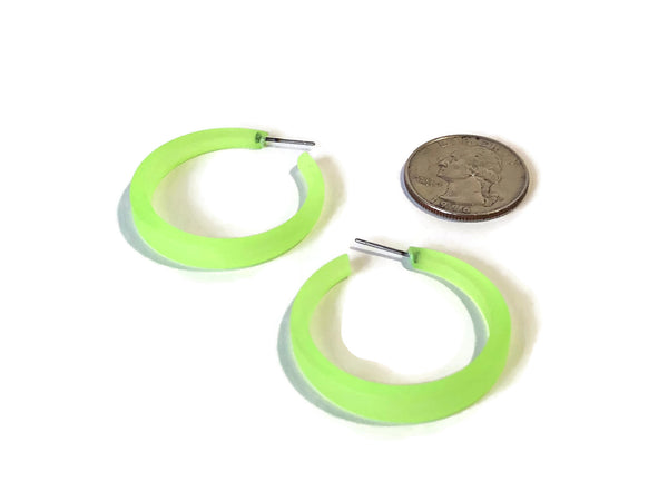 big neon green earrings