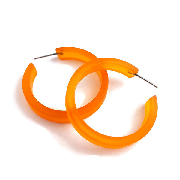 frosted orange earrings