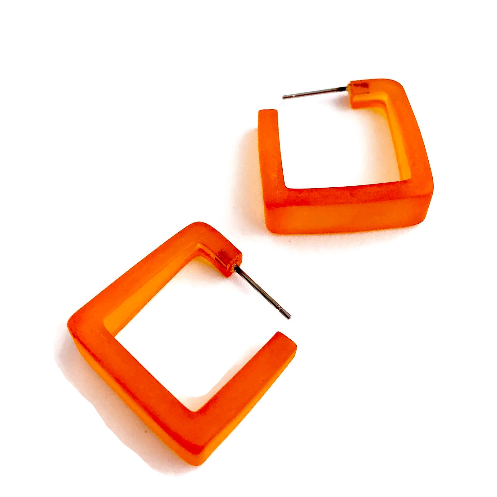 orange square hoop earrings
