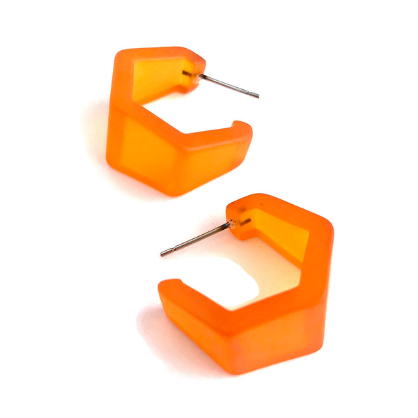 hexagon orange earrings