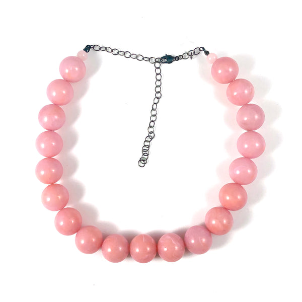 Pink Marbled Lucite Marco Necklace