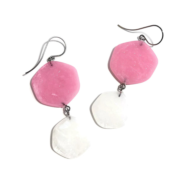 pink white lucite earrings