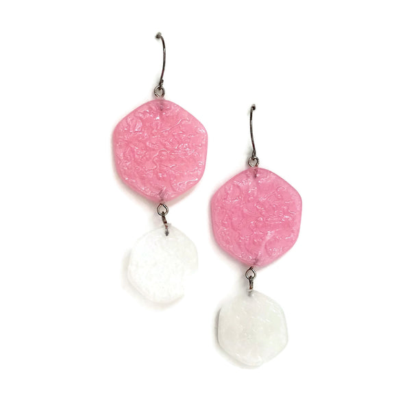 light pink statement drop earrings
